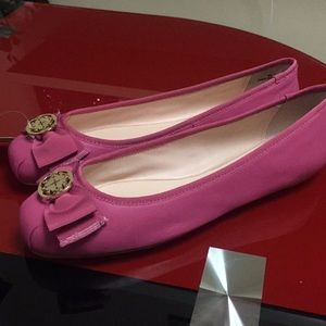 Kate Spade hot pink leather flats, new